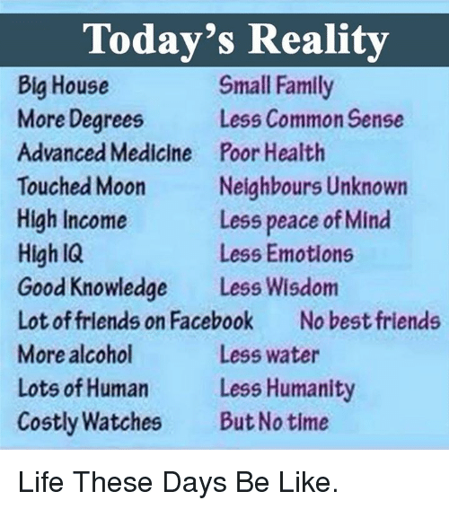 Be Like Facebook And Family Todays Reality Big House Small Family More Degrees