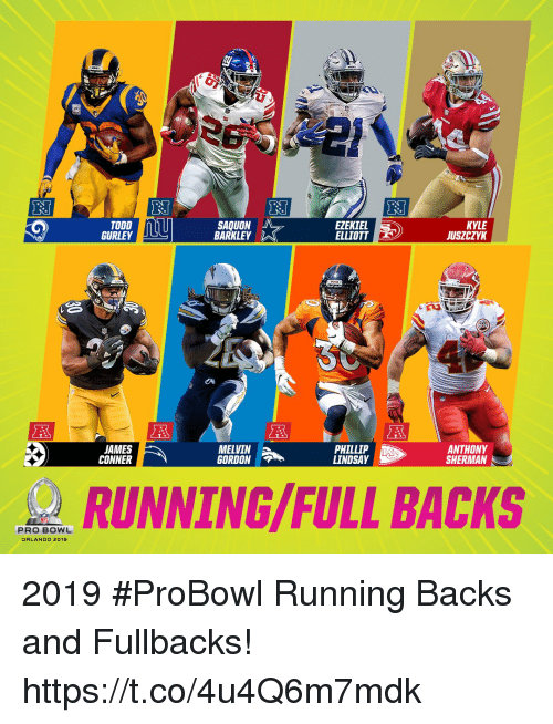 Memes, Orlando, and Todd Gurley: TODD  GURLEY  SAQUON  BARKLEY  EZEKIEL  ELLIOTT  KYLE  JUSZCZYK  de  JAMES  CONNER  MELVIN  GORDON  PHILLIP  LINDSAY  ANTHONY  SHERMAN  RUNNING/FULL BACKS  PRO BOWL  ORLANDO 2019 2019 #ProBowl Running Backs and Fullbacks! https://t.co/4u4Q6m7mdk