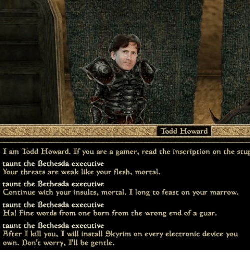 Todd Howard I Am Todd Howard if You Are a Gamer Read Che
