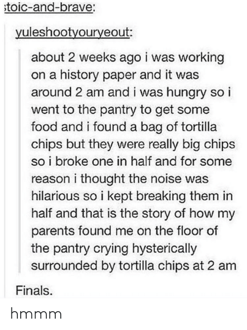 Crying, Finals, and Food: toic-and-brave:  yuleshootyouryeout:  about 2 weeks ago i was working  on a history paper and it was  around 2 am and i was hungry so i  went to the pantry to get some  food and i found a bag of tortilla  chips but they were really big chips  so i broke one in half and for some  reason i thought the noise was  hilarious so i kept breaking them in  half and that is the story of how my  parents found me on the floor of  the pantry crying hysterically  surrounded by tortilla chips at 2 am  Finals hmmm