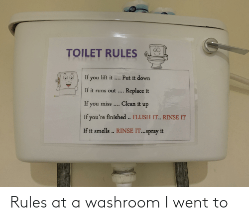 TOILET RULES 0If You Lift It Put It Down if It Runs Out Replace It