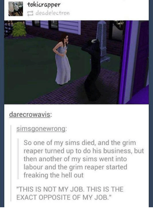"""Business, Sims, and Hell: tokicrapper  deadelectron  darecrowavIS  simsgonewrong  So one of my sims died, and the grim  reaper turned up to do his business, but  then another of my sims went into  labour and the grim reaper started  freaking the hell out  """"THIS IS NOT MY JOB. THIS IS THE  EXACT OPPOSITE OF MY JOB."""