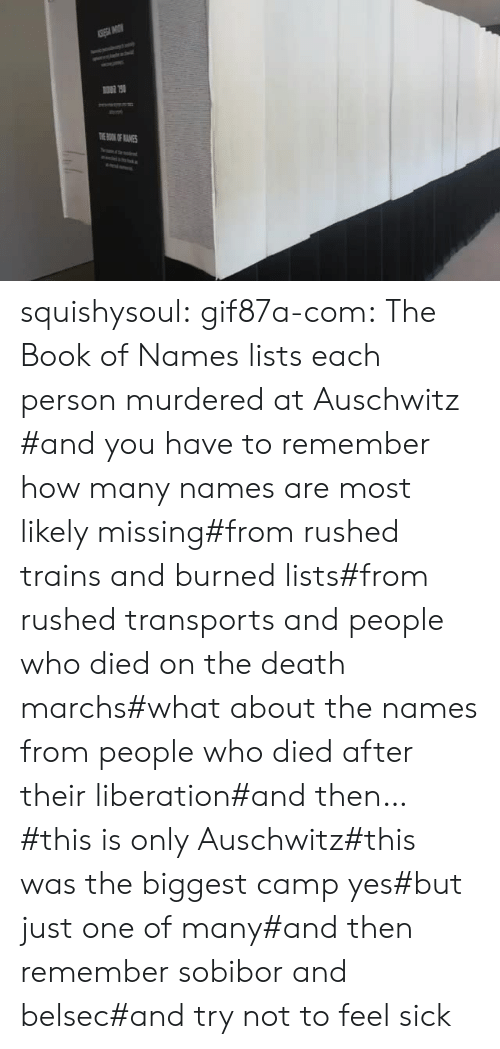 Tumblr, Auschwitz, and Blog: TOKOF ANES squishysoul: gif87a-com: The Book of Names lists each person murdered at Auschwitz   #and you have to remember how many names are most likely missing#from rushed trains and burned lists#from rushed transports and people who died on the death marchs#what about the names from people who died after their liberation#and then…#this is only Auschwitz#this was the biggest camp yes#but just one of many#and then remember sobibor and belsec#and try not to feel sick