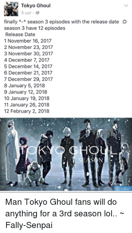 Tokyo Ghoul Uur E Finally*season 3 Episodes With the Release