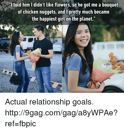 """Dank, 🤖, and Chicken Nuggets: told him l didn't like flowers, so he got me a bouquet  of chicken nuggets, and I pretty much became  the happiest girl on the planet."""" Actual relationship goals. http://9gag.com/gag/a8yWPAe?ref=fbpic"""
