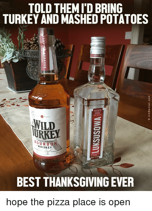 Ken, Pizza, and Thanksgiving: TOLD THEM I'D BRING  TURKEY AND MASHED POTATOES  RY VODKA POL  POTATO  VODKA  TRIPLE DISTILLE  WILD  KEN  TUCKY STRAIGHT  OURBON  WHISKEY  DISTIL  BEST THANKSGIVING EVER hope the pizza place is open