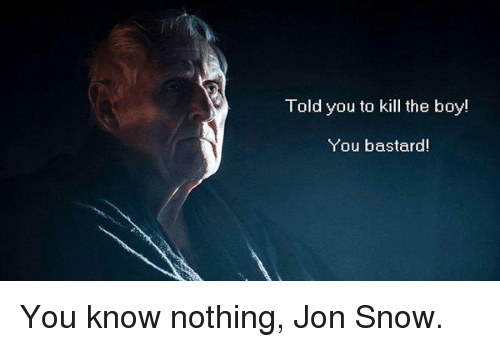 Memes, Jon Snow, and 🤖: Told you to kill the boy!  You bastard! You know nothing, Jon Snow.