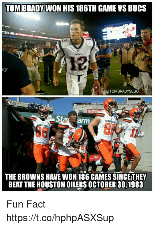 Tom Brady, Browns, and Game: TOM BRADY WON HIS 186TH GAME VS BUCS  @TOMBRADYSEGO  5  Sta arm  CL  CLE  6  THE BROWNS HAVE WON 186 GAMES SINCE THEY  BEAT THE HOUSTON OILERS OCTOBER 30,1983 Fun Fact https://t.co/hphpASXSup