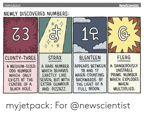 Target, Tumblr, and Black: TOM GAULD  NewScientist  NEWLY DISCOVERED NUMBERS:  83  1  CLONTY-THREE 11  STRAX  BLENTEEN  FLERG  A MEDIUM-SIZED A RARE NUMBER ApPEARS BETWEEN A DANGEROUSLY  18 AND 17  UNSTABLE  ODD NUMBER WHICH BEHAVES  WHICH ONLY EXACTLY LIKE WHEN COUNTING PRIME NUMBER  EXISTS AT THE SEVEN, BUT WITHBACKWARDS BY WHICH EXPLODES  CENTRE OF A 11 EXTRA GLAMOUR || THE LIGHT OF A  BLACK HOLE. 11 AND ρ1ZZAZZ | FULL MOON.  WHEN  MULTIPLIED. myjetpack: For @newscientist