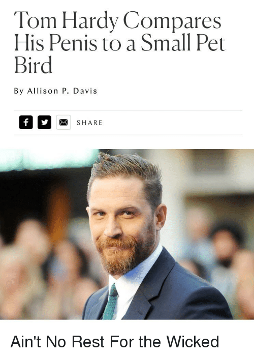 Tom Hardy, Penis, and Toms: Tom Hardy Compares His Penis to a Small
