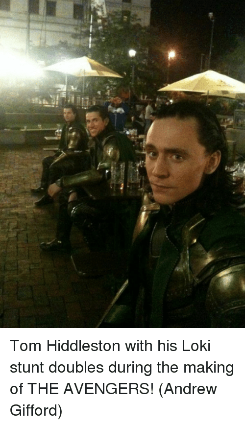 Memes, Avengers, and The Avengers: Tom Hiddleston with his Loki stunt doubles during the making of THE AVENGERS!  (Andrew Gifford)