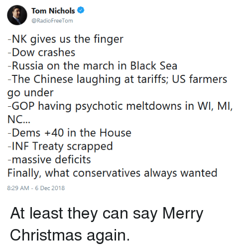 Tom Nichols Nk Gives Us The Finger Dow Crashes Russia On The March