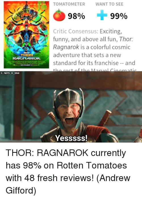 Fresh, Funny, and Memes: TOMATOMETERWANT TO SEE  98%  99%  Critic Consensus: Exciting,  funny, and above all fun, Thor:  Ragnarok is a colorful cosmic  adventure that sets a new  standard for its franchise-and  THOR  RAGNAROK  E MARVEL D SOUAD  Yesssss! THOR: RAGNAROK currently has 98% on Rotten Tomatoes with 48 fresh reviews!  (Andrew Gifford)