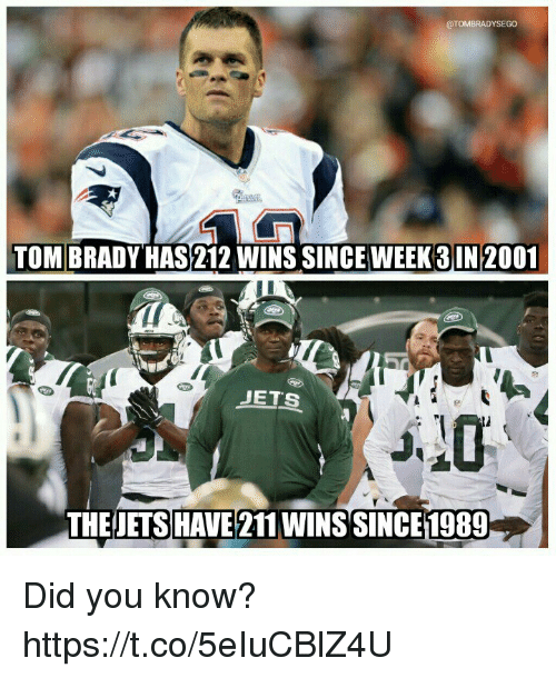 Memes, Tom Brady, and Jets: @TOMBRADYSEGO  TOM BRADY HAS212 WINS SINCE WEEK3IN 2001  JETS  THEJETS HAVE 211 WINS SINCE1989 Did you know? https://t.co/5eIuCBlZ4U