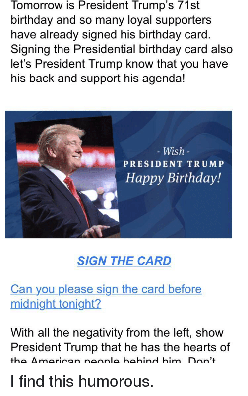 25 Best Memes About Trump Happy Birthday – Presidential Birthday Card