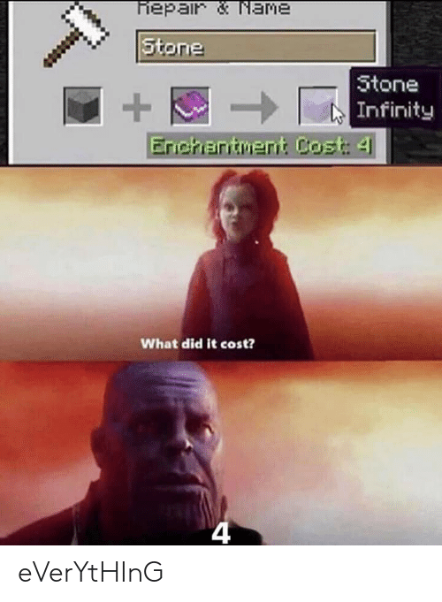 Infinity, Dank Memes, and Did: tone  Infinity  What did it cost?  4 eVerYtHInG