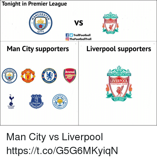 Being Alone, Arsenal, and Club: Tonight in Premier League  CHES  YOULL NEVER WALK ALONE  VS  LIVERPOOL  FOOTBALL CLUE  18  94  CITY  EST 1892  TrollFootball  ) TheFootballTroll  Man City supportersLiverpool supporters  ELS  CHES  CHES  Arsenal  YOULL NEVER WALKALONE  LIVERPOOL  FOOTBALL CLUB  CITY  WITE  BALL  ESTER  EST.1892  Everton  1878  OTTENHAN  HOTSPUR  BALL  S NISI Man City vs Liverpool https://t.co/G5G6MKyiqN