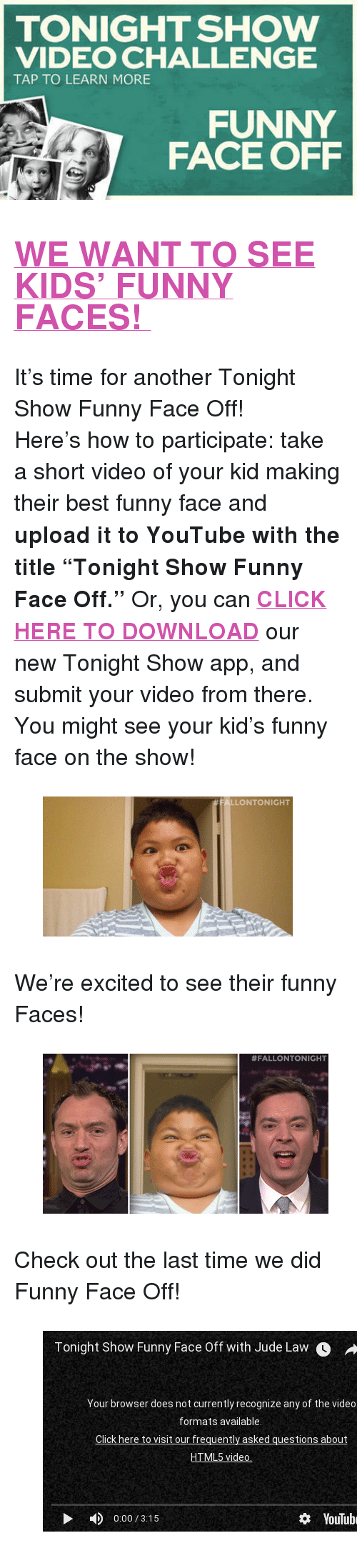 TONIGHT SHOW VIDEO CHALLENGE TAP TO LEARN MORE FUNNY FACE