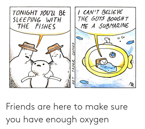 Friends, Oxygen, and Sleeping: TONIGHT YOUlL BE CAN'T BELIEYE  SLEEPING WITH  THE GUYS BOUGHT  ME A SuBMARINE  THE FISHES  2 Friends are here to make sure you have enough oxygen