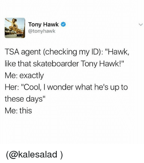 "Funny, Meme, and Tsa: Tony Hawk  @tony hawk  TSA agent (checking my ID): ""Hawk,  like that skateboarder Tony Hawk!""  Me: exactly  Her: ""Cool, I wonder what he's up to  these days""  Me: this (@kalesalad )"