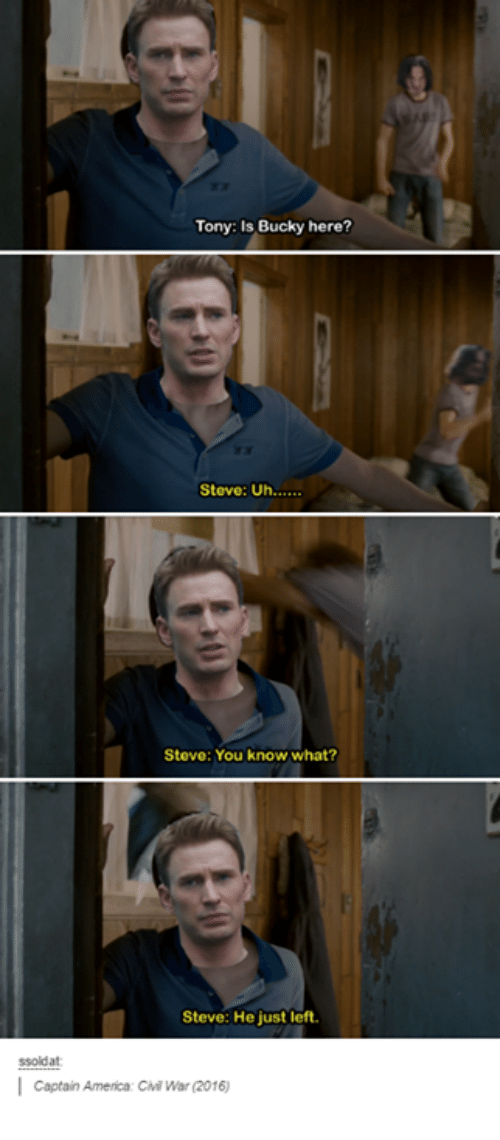 Tony Is Bucky Here Steve Uh Steve You Know What Steve He