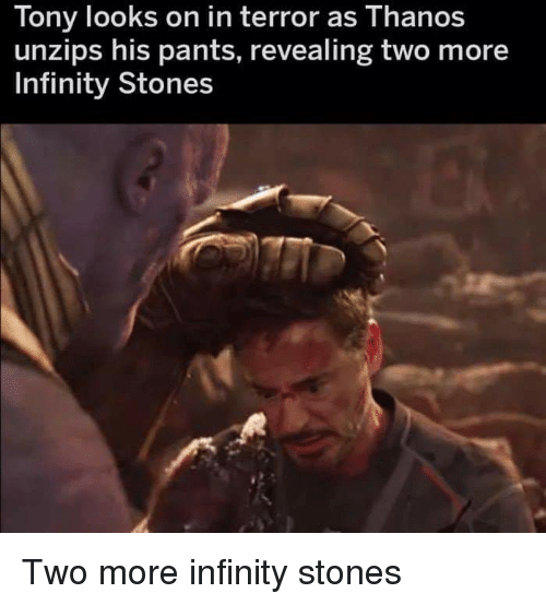 Tony Looks On In Terror As Thanos Unzips His Pants Revealing Two