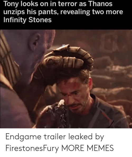 Dank, Memes, and Target: Tony looks on in terror as Thanos  unzips his pants, revealing two more  Infinity Stones Endgame trailer leaked by FirestonesFury MORE MEMES