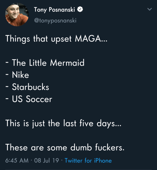 Dumb, Iphone, and Nike: Tony Posnanski  @tonyposnanski  Things that upset MAGA...  - The Little Mermaid  - Nike  Starbucks  - US Soccer  This is just the last five days...  These are some dumb fuckers.  6:45 AM 08 Jul 19 Twitter for iPhone