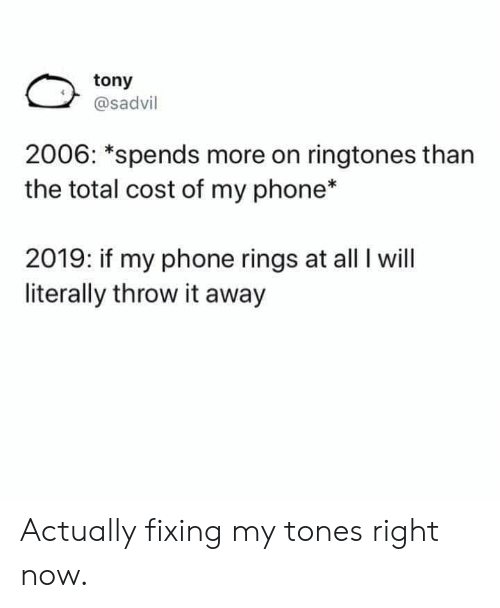 Dank, Phone, and Ringtones: tony  @sadvil  2006: *spends more on ringtones than  the total cost of my phone*  2019: if my phone rings at all I will  literally throw it away Actually fixing my tones right now.