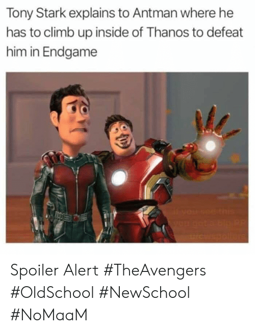 Memes, Antman, and Thanos: Tony Stark explains to Antman where he  has to climb up inside of Thanos to defeat  him in Endgame  le Spoiler Alert #TheAvengers #OldSchool #NewSchool #NoMaaM