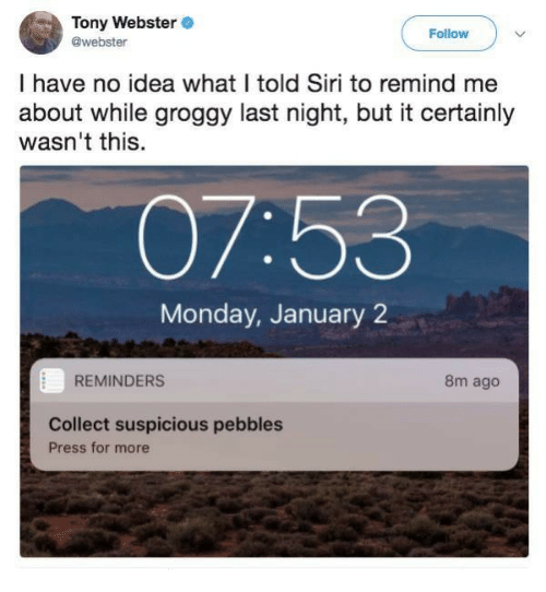 Siri, Monday, and Idea: Tony Webster  @webster  Follow  I have no idea what I told Siri to remind me  about while groggy last night, but it certainly  wasn't this.  07:53  Monday, January 2  REMINDERS  8m ago  Collect suspicious pebbles  Press for more