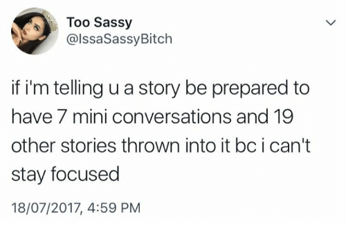 Sassy, Mini, and Story: Too Sassy  @lssaSassyBitch  if i'm telling u a story be prepared to  have 7 mini conversations and 19  other stories thrown into it bc i can't  stay focused  18/07/2017, 4:59 PNM