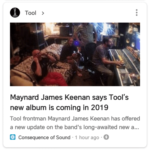 Tool> Maynard James Keenan Says Tool's New Album Is Coming