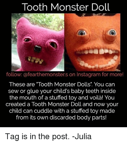 Tooth Monster Doll Follow Afearthemonsters on Instagram for