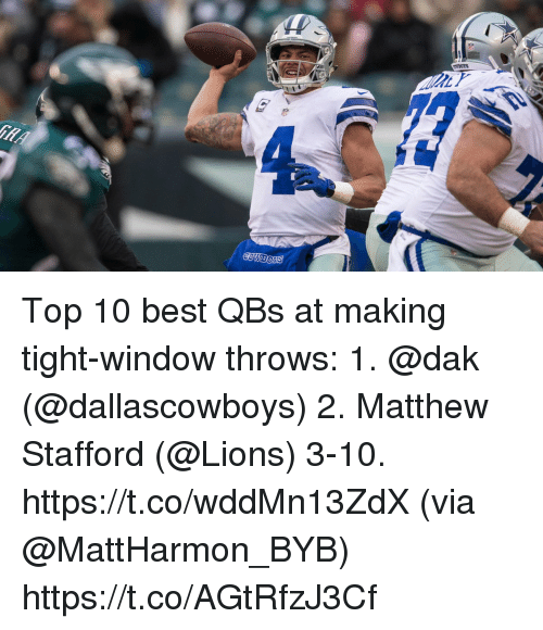 Memes, Best, and Lions: Top 10 best QBs at making tight-window throws:  1. @dak (@dallascowboys) 2. Matthew Stafford (@Lions) 3-10. https://t.co/wddMn13ZdX (via @MattHarmon_BYB) https://t.co/AGtRfzJ3Cf