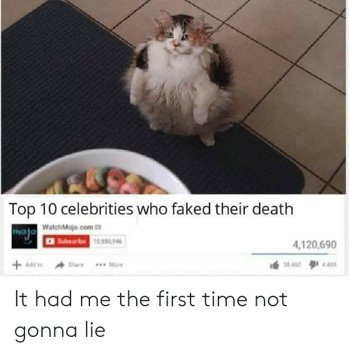 Reddit, Death, and Time: Top 10 celebrities who faked their death  MOJO WatchMojo.com  Subsoribe 10,550.96  4,120,690  +Adst  AShare  .. Mare  4.40  M400 It had me the first time not gonna lie