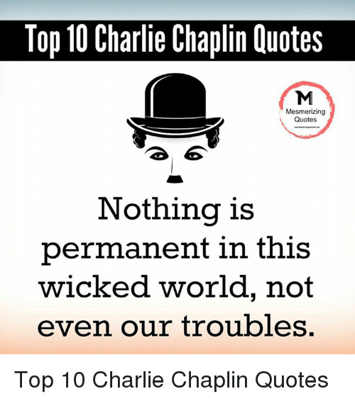 Mesmerizing Quotes For Fun: Top 10 Charlie Chaplin Quotes Mesmerizing Quotes Nothing