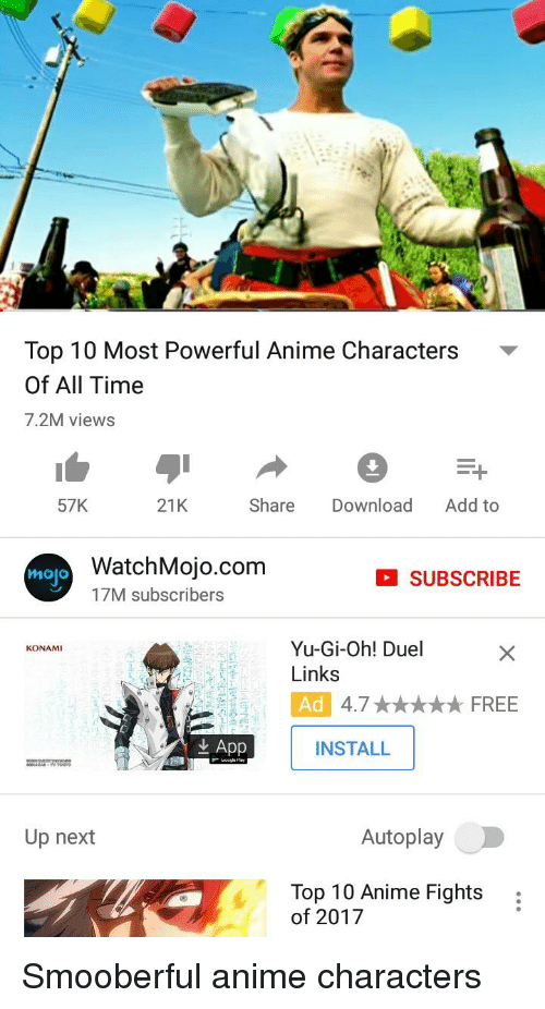 Top 10 Most Powerful Anime Characters of All Time 72M Views