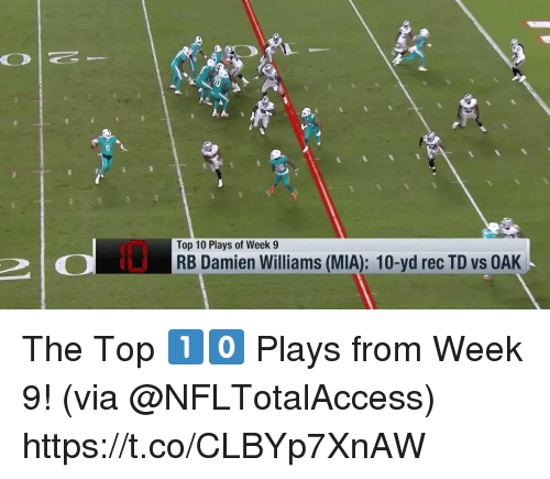 Memes, 🤖, and Mia: Top 10 Plays of Week 9  RB Damien Williams (MIA): 10-yd rec TD vs OAK The Top 1️⃣0️⃣ Plays from Week 9!  (via @NFLTotalAccess) https://t.co/CLBYp7XnAW