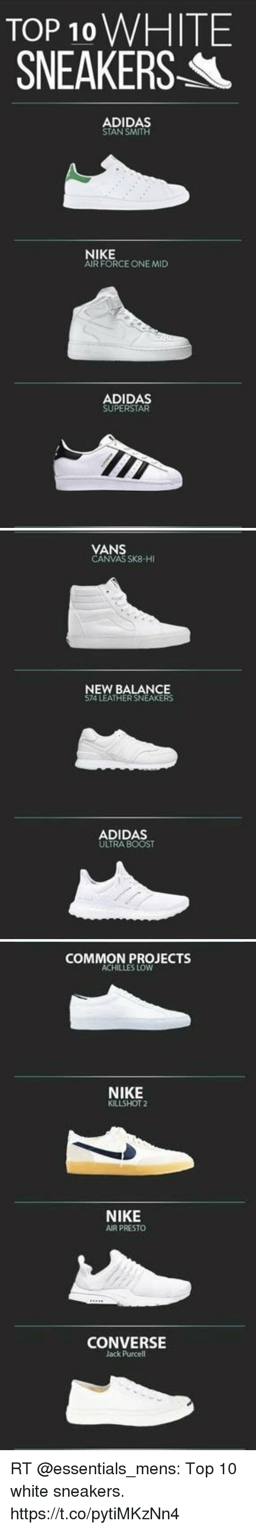 c4b063b4306d TOP 10 WHITE SNEAKERS ADIDAS STAN SMITH NIKE AIR FORCE ONE MID ...