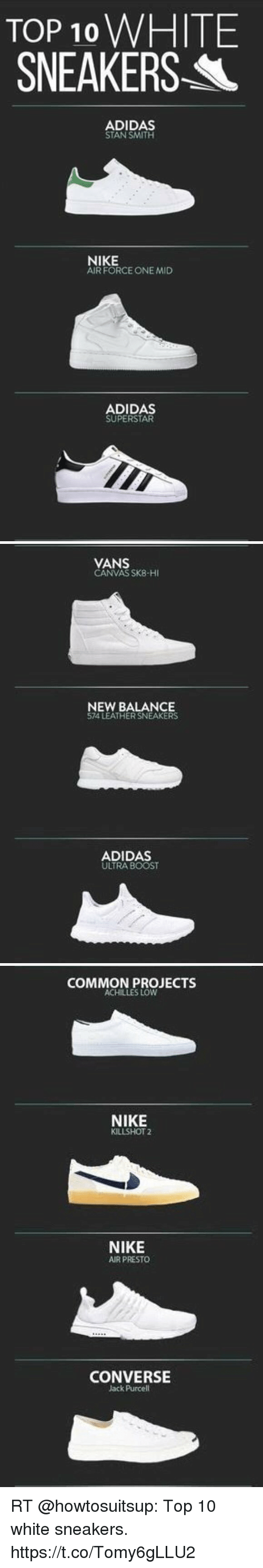 6204ffa09b9d TOP 10 WHITE SNEAKERS- L ADIDAS STAN SMITH NIKE AIR FORCE ONE MID ...