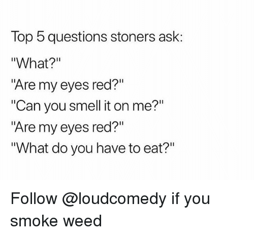 "Smell, Weed, and Trendy: Top 5 questions stoners ask:  ""What?""  ""Are my eyes red?""  ""Can you smell it on me?""  ""Are my eyes red?""  What do you have to eat?"" Follow @loudcomedy if you smoke weed"