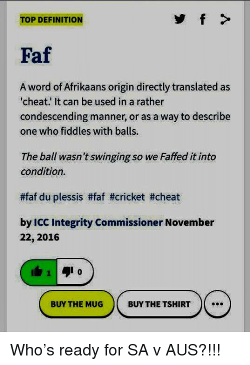 top definition faf a word of afrikaans origin directly translated as