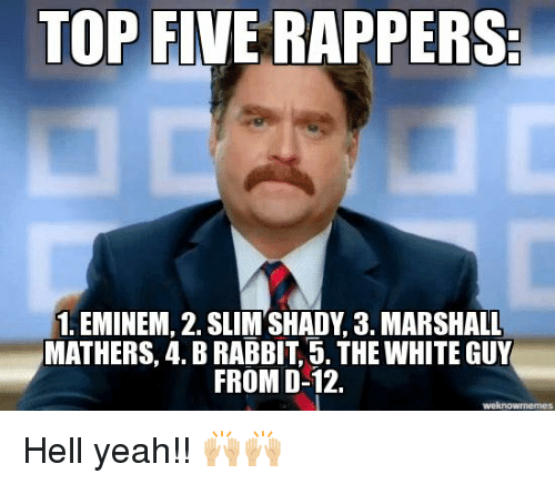 Eminem, Memes, and Top Five: TOP FIVE RAPPERS.  1. EMINEM, 2. SLIM SHADY, 3. MARSHALL  MATHERS, 4. BRABBIT, 5. THE WHITE GUY  FROM D-12. Hell yeah!! 🙌🏼🙌🏼