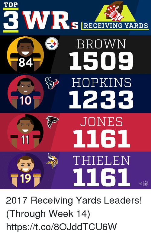 Memes, Nfl, and Steelers: TOP  S RECEIVING YARDS  BROWN  Steelers  84  HOPKINS  10 1233  JONES  1161  THIELEN  1161  19  NFL 2017 Receiving Yards Leaders! (Through Week 14) https://t.co/8OJddTCU6W
