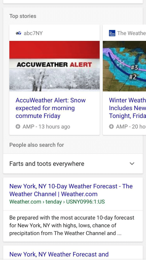 Top Stories The Weathe AbcNY ACCUWEATHER ALERT AccuWeather - 10 day weather ny