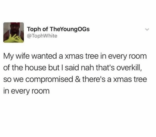 Dank, House, and Tree: Toph of TheYoungOGs  @TophWhite  My wife wanted a xmas tree in every room  of the house but I said nah that's overkill,  so we compromised & there's a xmas tree  in every room