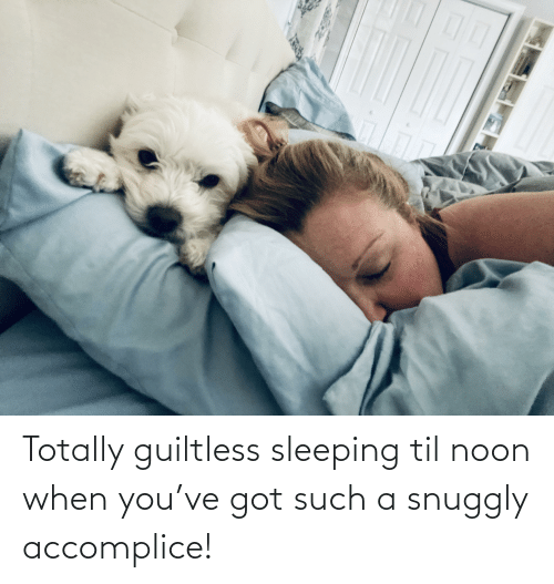 Sleeping, Got, and Til: Totally guiltless sleeping til noon when you've got such a snuggly accomplice!