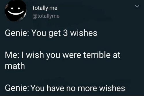 Math, Genie, and You: ..Totally me  @totallyme  Genie: You get 3 wishes  Me: I wish you were terrible at  math  Genie: You have no more wishes