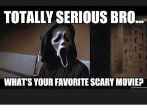 TOTALLY SERIOUS BRO WHATS YOUR FAVORITE SCARY MOVIE? | Meme
